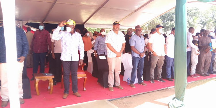 DP William Ruto, Msambweni MP Feisal Bader and other politicians at the latter's homecoming on December 31, 2020.