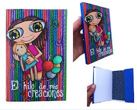 Photo: Funda de libreta+libreta de unos 11x16 cm, confeccionada en cartón de alto gramaje, cosida, encolada, pintada y barnizada a mano. Personalizable. Precio según ilustración.