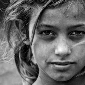 Look by Dejan Dajković - Babies & Children Children Candids ( b&w, girl, refugee, portrait )