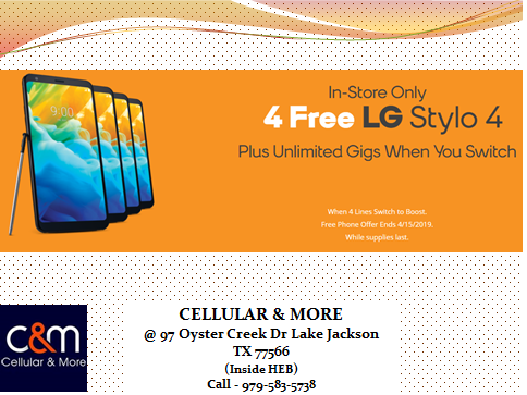 Cellular and More H E B Lake Jackson Boost Mobile Verizon
