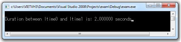 Hàm difftime sẽ trả về khoảng thời gian giữa 2 mốc timer1 và timer2.