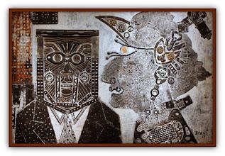 """Photo: Antonio Berni Taco para """"El señor y la señora Pérez, protectores de Ramona"""". 1963 ca. 57 x 78,5 cm. Madera y metal. Galería Rubbers Internacional, Buenos Aires. Expo: Antonio Berni. Juanito y Ramona (MALBA 2014-2015)"""