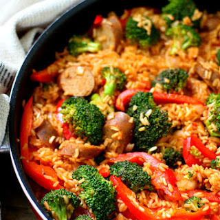 Easy Sausage Rice Skillet Meal.