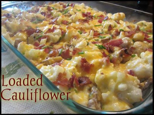 LOADED CAULIFLOWER    I have reposted this several times but it is my most requested recipe right now. If you have not tried it, it is a MUST! It's low carb too!!!!!   Ingredients: 1 large head of Cauliflower cut into bite size pieces (approx 6 cups) 6-8 strips of bacon cooked and crumbled (Cooked in oven at 400° for 20 mins) 6 Tbs chopped Chives 1/2 cup Mayonnaise 1/2 cup Sour Cream 2 cups Colby Jack Cheese ( may use cheddar) 8 oz container sliced mushrooms Directions: Preheat oven to 425° In a large pot boil water and cook Cauliflower for 8 - 10 minutes, drain and let cool. In a large bowl combine sour cream, mayo, 1/2 of crumbled bacon, 3 tbs chives, 1 cups of cheese,mushrooms and cauliflower and mix well... place in baking dish and cover with remaining 1 cup of cheese and rest of bacon crumbles. Bake for 15-20 minutes until cheese is melted. top with remaining 3 Tbs chives and serve. ENJOY!!!! Like ~ Share ~ Comment ~ (share will save to your wall)  **Feel free to FOLLOW ME. I am always posting awesome stuff!** https://www.facebook.com/nicole.m.riccio.3 ¯`☆¯)¸.❉´¯) ••  (¸☆´ (¸.☼´´¯`•.¸¸.❉☆  **JOIN MY WINNING TEAM** JOIN MY TEAM: http://nriccio06.SBCPower.com/