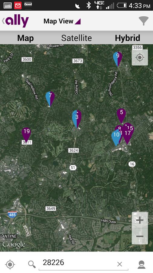 Ally's ATM & Cash Locator - screenshot