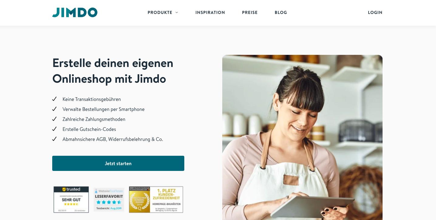 Jimdo Online Shop erstellen