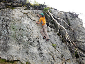 Photo: Kevin on a 15 or 20' wall on the buttress in the last photo. Photo by Christina Nash.