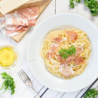 Spaghetti Carbonara with Grana Padano & Prosciutto di San Daniele.