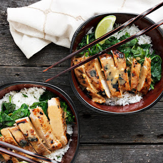 Thai Pork Rice Bowl with Peanut Sauce and Lime Rice