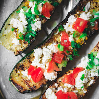 Mediterranean Grilled Zucchini with Tomato and Feta.