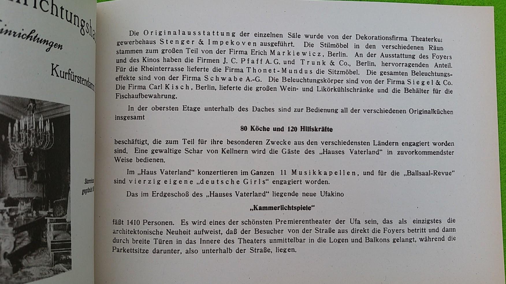 Begleitheft zur Eröffnung von Haus Vaterland am Potsdamer Platz, Berlin, 31. August 1928 - Köche und Kino