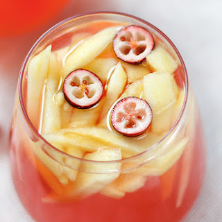 Fall Sangria with Apple and Cranberries.