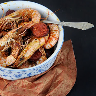 Chorizo with Prawns - one of the best Spanish tapas.