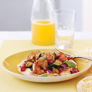 Shrimp & Vegetable Sauté with Cheesy Grits