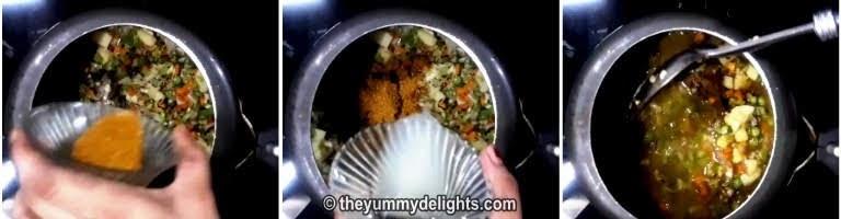 Addition of garam masala and lemon juice to make veg pulao recipe