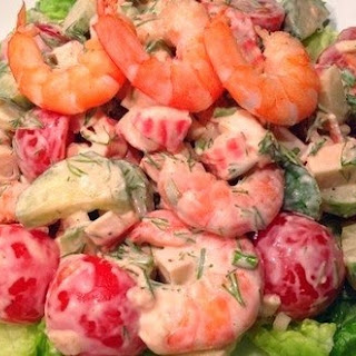Salad With Cherry Tomatoes And Prawns.