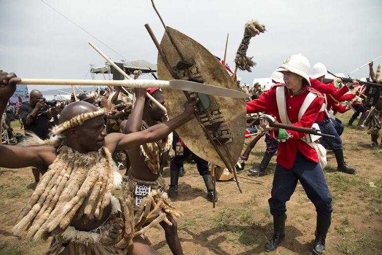 British soldiers and Zulu warriors do battle during a re-enactment of the Battle of Isandlwana. Picture: ROGAN WARD/THE TIMES