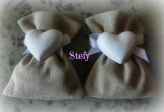 Photo: Sacchetti in misto lino con cuore in gesso profumato