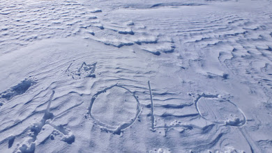 """Photo: Me and Kolo tried to climb this mountain unsuccessfully in 2013 (read more at http://lukasov.blogspot.se/2013/04/kebnekaise-arctic-journey.html), so we made an """"in memoriam"""" for him. I hope it's still there in the snow."""