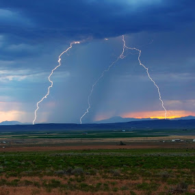 3 Strikes by Brent Flamm - Landscapes Weather ( lightening, nature, utah, agriculture, weather, storm )