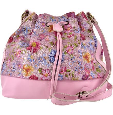 Säckväska ängsblommig rosa med blommigt foder
