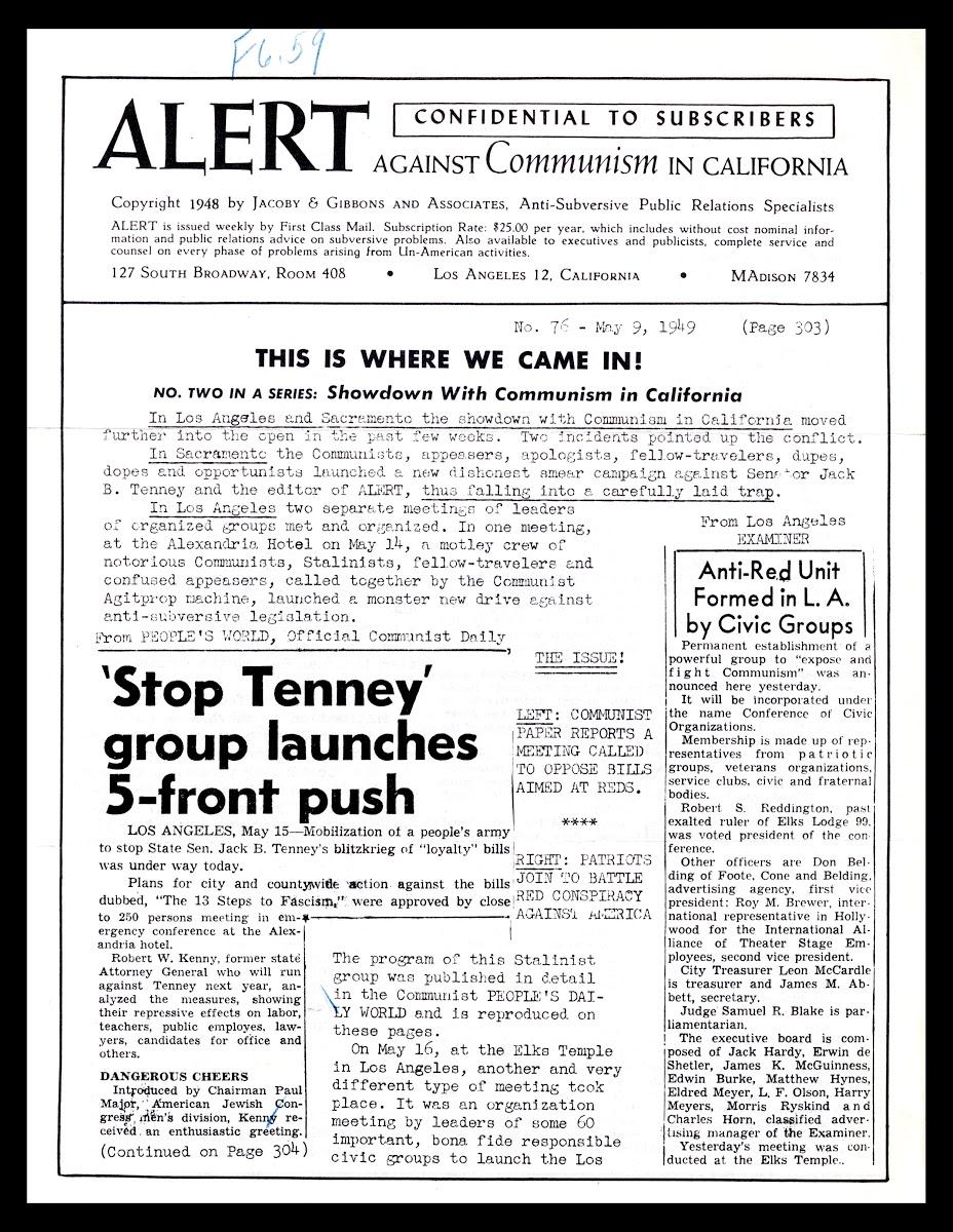Alert Against Communism in California Newsletter, May 9