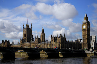 Photo: View of Parliament and Westminster Bridge from the south bank
