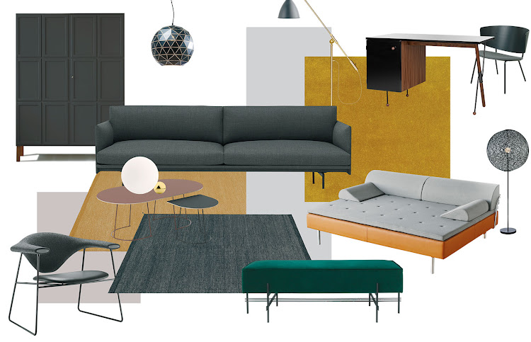 From left: The Frey Armoire from Pinch Design. Triangle pendant light from Kare Design. Outline sofa from Muuto. BL4 floorlamp from Gubi. 62 Desk from Gubi. Solo rug from Ligne Roset. Herman lounge chair from Ferm Living. Random light from Weylandts. Diva day bed from Gubi. TS poufe from Gubi. Pebble rug from Muuto. Airy coffee table from Muuto. Airy coffee tab from Muuto. Pebble rug from Muuto. Flos Copycat table lamp from Crema Design. Musculo loung chair from Gubi.