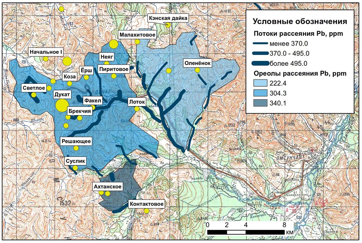 Линейные аномалии и площадные ореолы потоков рассеяния свинца в пределах Дукатского рудного узла