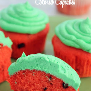Watermelon Colored Cupcakes