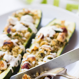 Quinoa Stuffed Zucchini Boats.