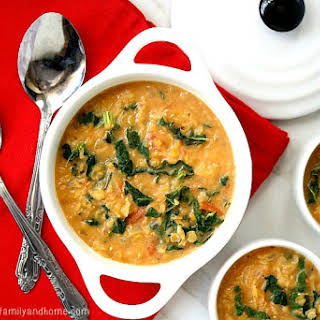 Creamy Red Lentil and Kale Soup (Vegan, Gluten-Free, Dairy-Free).