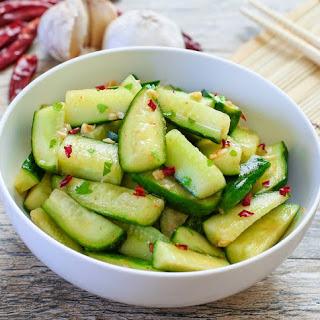 Sriracha Chinese Cucumber Salad.