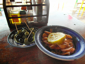 Photo: Snack at Dino's - Olives and Prawns