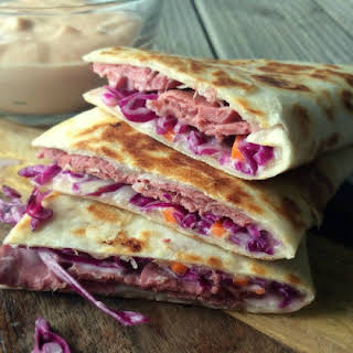 Reuben Quesadillas with Russian Dipping Sauce.