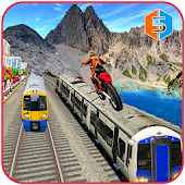 Bike Stunts on Crazy train Mania