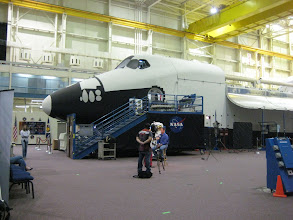 Photo: Univision filming a special near the Fuselage Trainer in NASA's Space Vehicle Mockup Facility