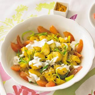 Curry-Kartoffel-Salat mit Lauch