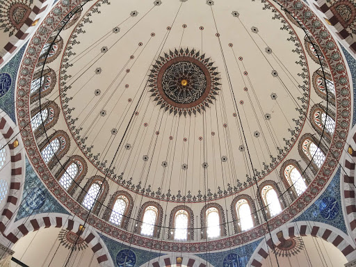 Rustem-Pasha-Mosque - Under the cupola of Rustem Pasha Mosque, a strikingly ornate 16th-century Ottoman mosque in Istanbul, Turkey.