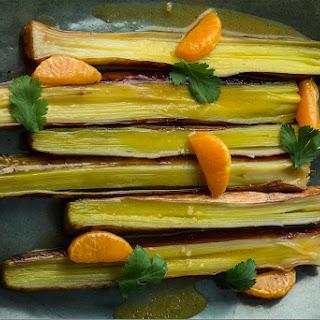 Roasted Whole Leeks With Tangerine Vinaigrette.