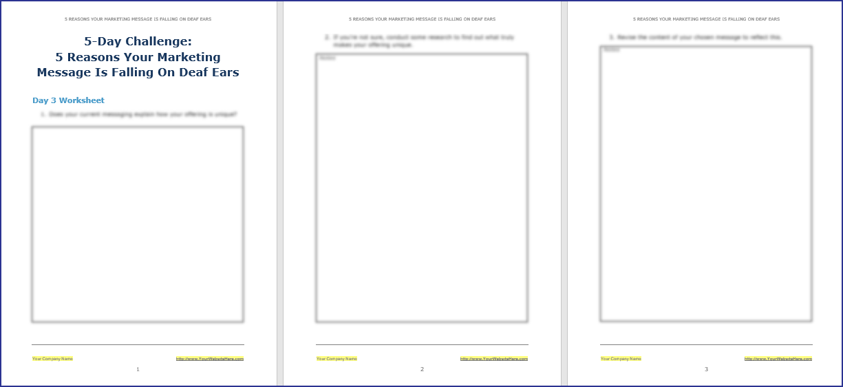 Create Your Marketing Message - 5-Day Challenge Worksheet 3