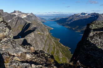 Photo: Ersfjorden and Ersfjordsbotn, seen from a ridge just below Skamtinden. In the far background, one can see the city of Tromsø.