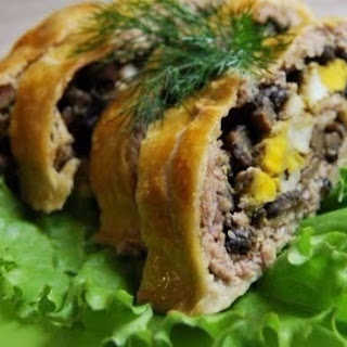 Meatloaf With Mushrooms, Baked In Puff Pastry.