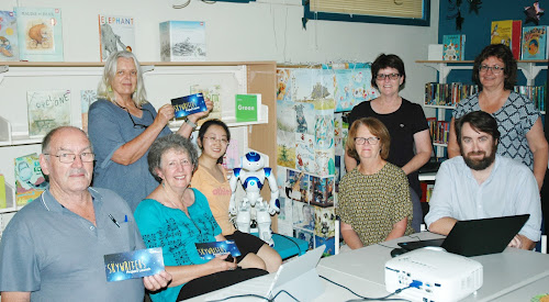 At the launch at Narrabri Library on Monday, March 27 were, standing, organiser Merrill Findlay of Forbes, Narrabri Shire tourism manager Penny Jobling and Narrabri Shire library manager Jenny Campbell, sitting, Max Pringle, Robyn Warwick, Yang (Alice) Jiang, Megan Pitt (Tamworth Library, who brought robot Codey which is to her right) and Australia Telescope Compact Array senior systems scientist Jamie Stevens.
