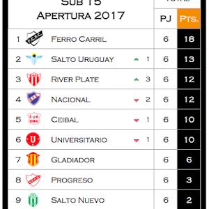 Posiciones 2017 de Fútbol Formativas