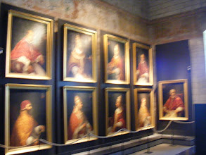 Photo: Our use of natural light does not do justice to the portraits of the nine Popes of Avignon.