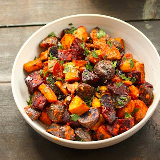 Roasted Root Vegetables With Romesco Sauce