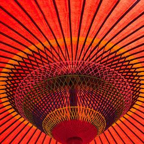 Kyoto Temple Umbrella by Paul Atkinson - Abstract Fine Art ( abstract, japan, red, kyoto, parasol, umbrella, japanese, shade, sun, design )