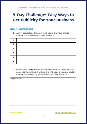 How to Attract Free Publicity - Bonus Challenge Worksheet 4