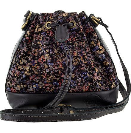 Liten säckväska blommig svart/guld 192 med blommigt foder
